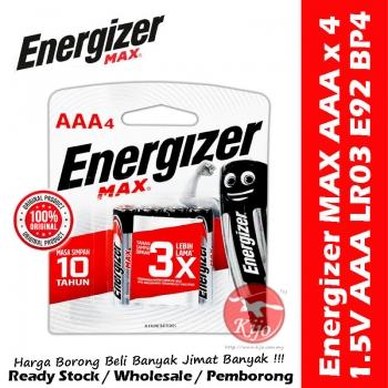 Energizer Max Battery AAA / 3A E92 BP-4 9638
