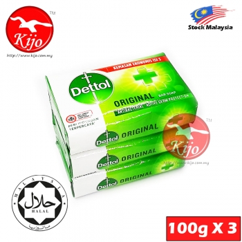 Dettol Original Antibacterial Active Germ Protection Bar Soap 100G X 3PCS #Dettol #Original #Sabun #Mandi #Antibacterial