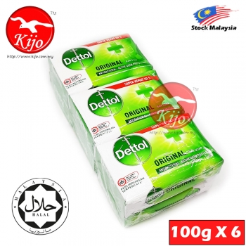 Dettol Original Antibacterial Active Germ Protection Bar Soap 100G X 6PCS #Dettol #Original #Sabun #Mandi #Antibacterial