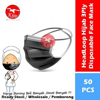 HeadLoop Hijab Disposable Face Mask / 3-Ply Adult Hijab Masker Topeng Penutup Mulut & Hidung Pelitup Muka #HeadLoop #2131-BK