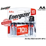 9364 Energizer Max E91 BP-6 AA 1CARD=6PCS