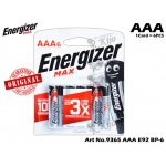 9365 Energizer Max E92 BP-6 AAA 1CARD=6PCS